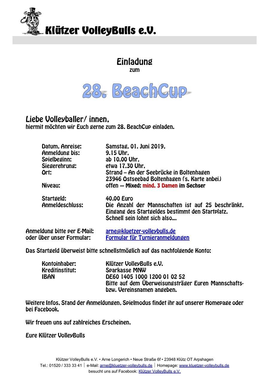 Einladung BeachCup 2019 - Seite 1/2