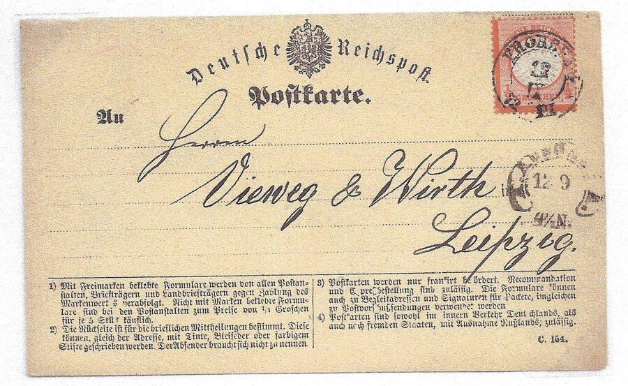 Postkarte mit sächsischem Zweikreisstempel