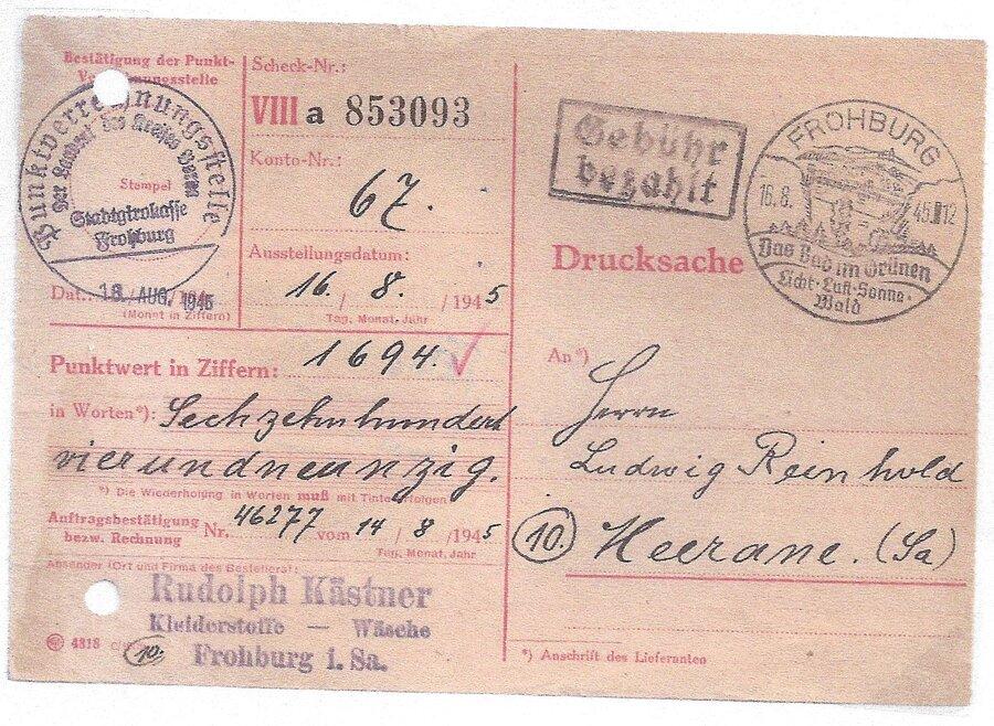 Barfrankatur 1945 mit Sonderstempel