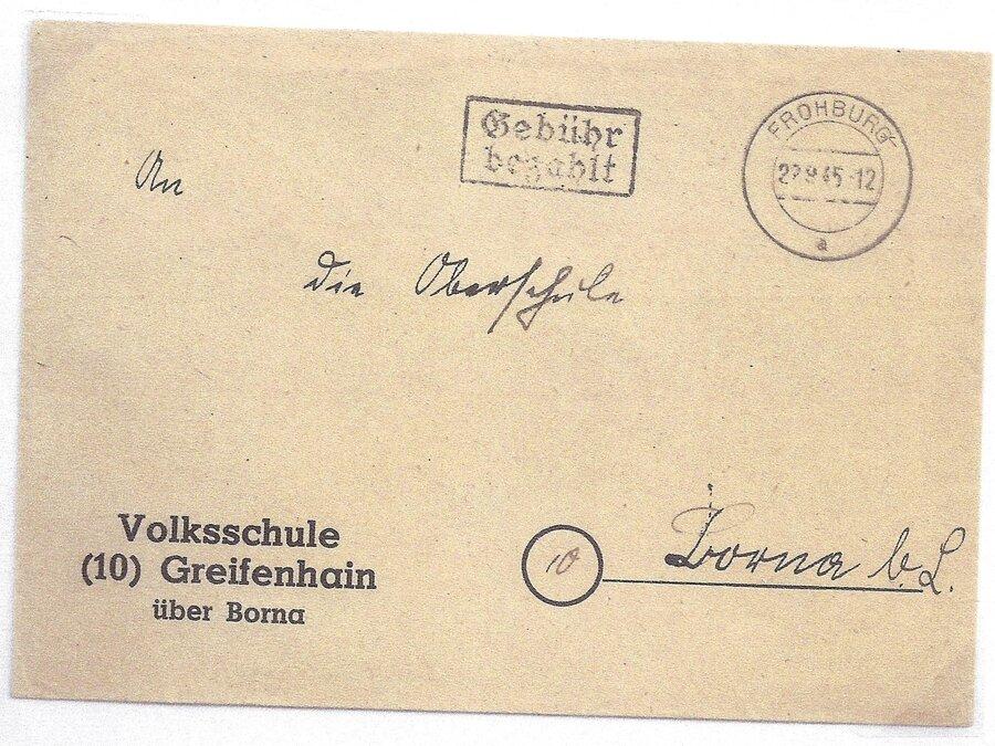 Barfrankatur 1945 mit Tagesstempel