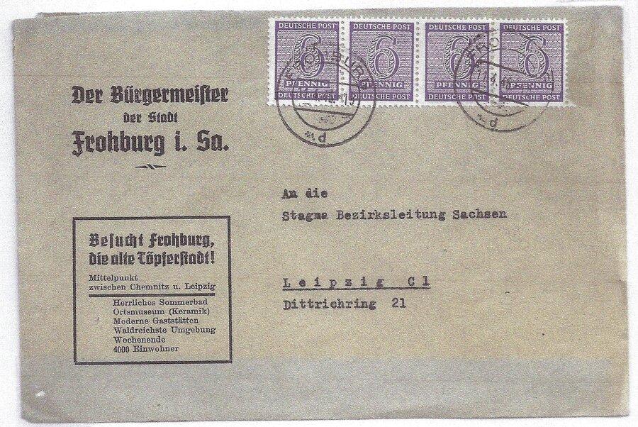 OPD Westsachsen Fernbrief mit MeF 129Y