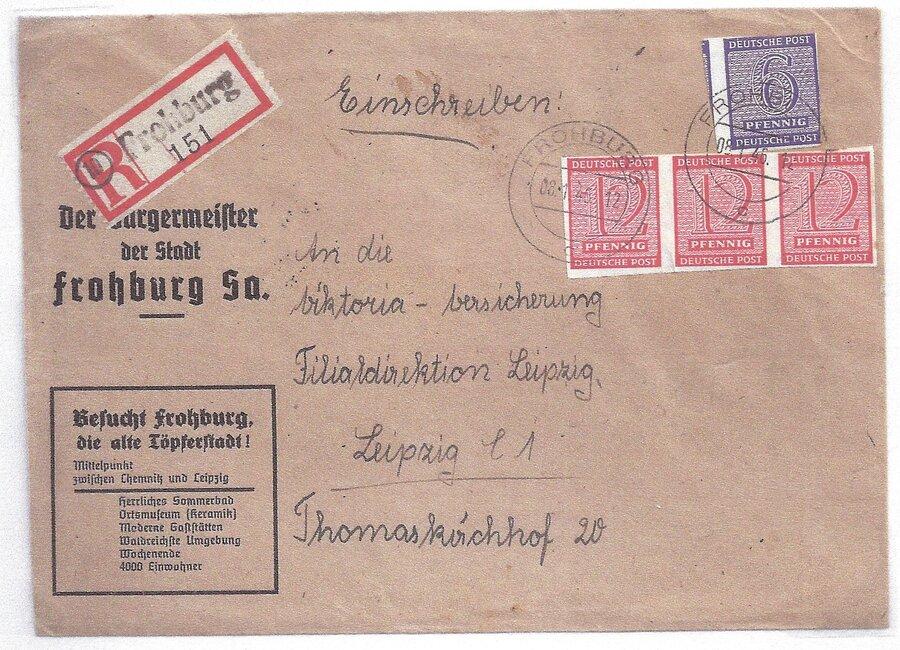 OPD Westsachsen R-Brief mit Not-R-Zettel