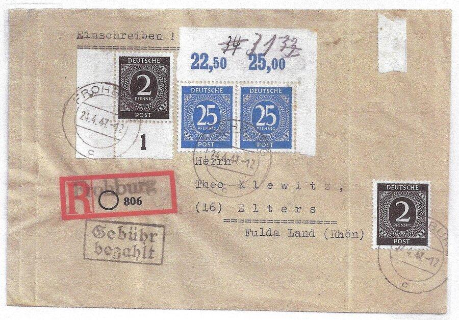 R-Brief mit Behelfszettel ohne PLZ