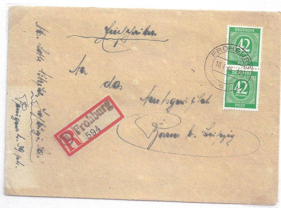 R-Brief mit Behelfszettel mit PLZ