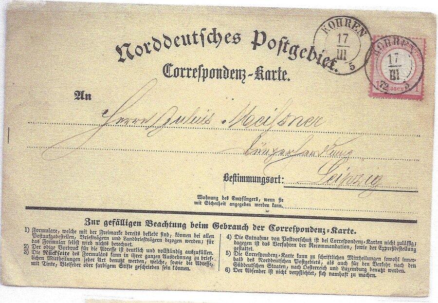 DR Postkarte mit sächsischem Ortsstempel