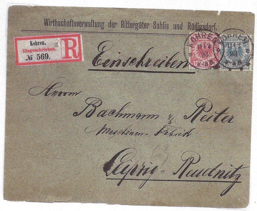 """DR R-Brief mit Einkreisstempel """"* Kohren *"""""""