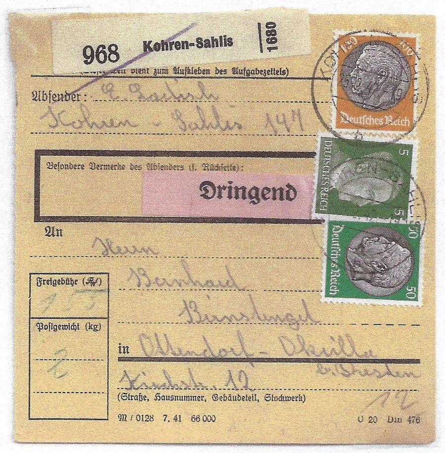Paketkarte aus Kohren-Sahlis