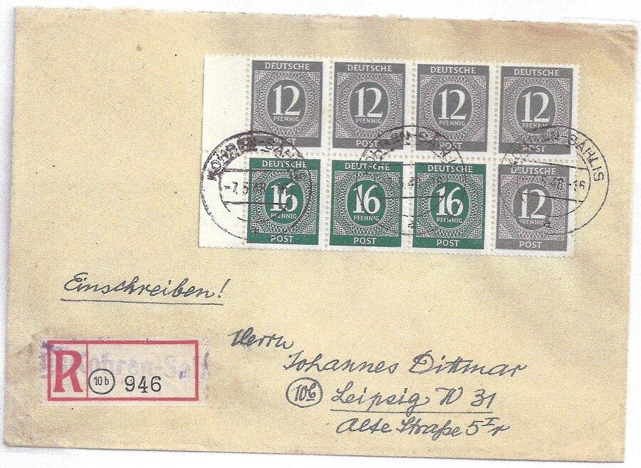 R-Brief mit Behelfszettel und komplettem Heftchenblatt