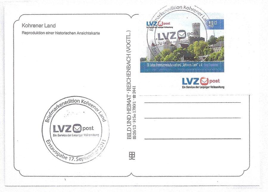 Privatpostbeleg mit Abb. Burg Kohren