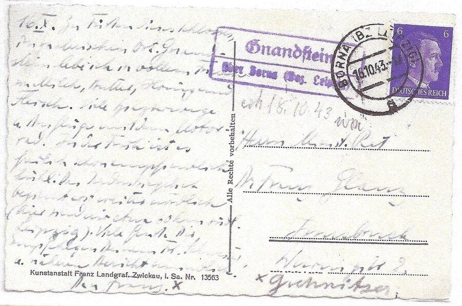 Poststellenstempel Gnandstein 1943