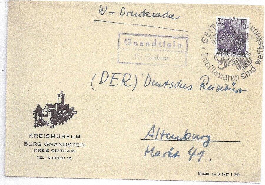 Poststellenstempel Gnandstein 1957