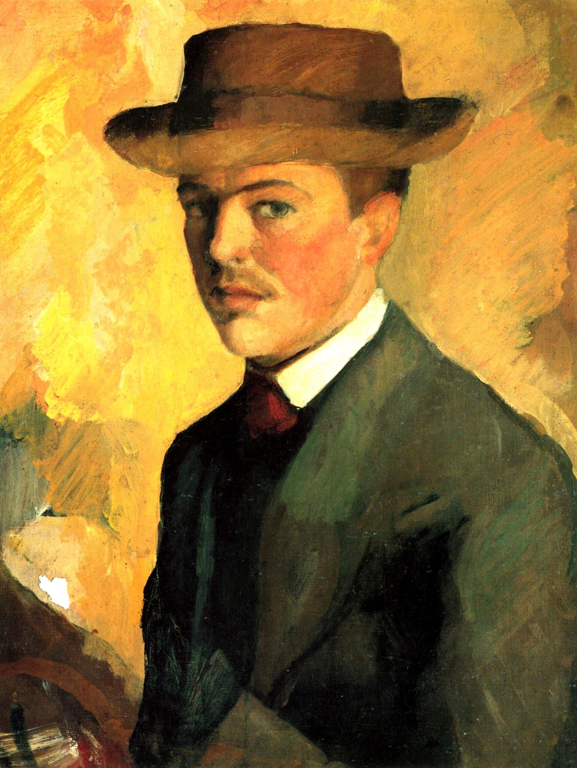 August Macke, Selbstportät mit Hut 1909