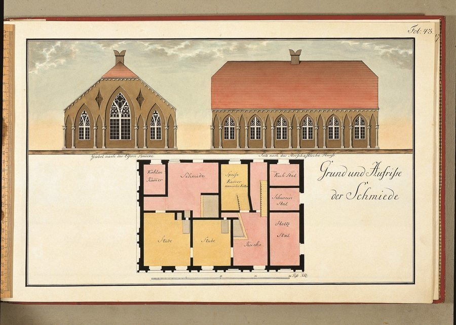 Grund und Aufriße der Schmiede - seit 1911 Gaststätte Gotisches Haus