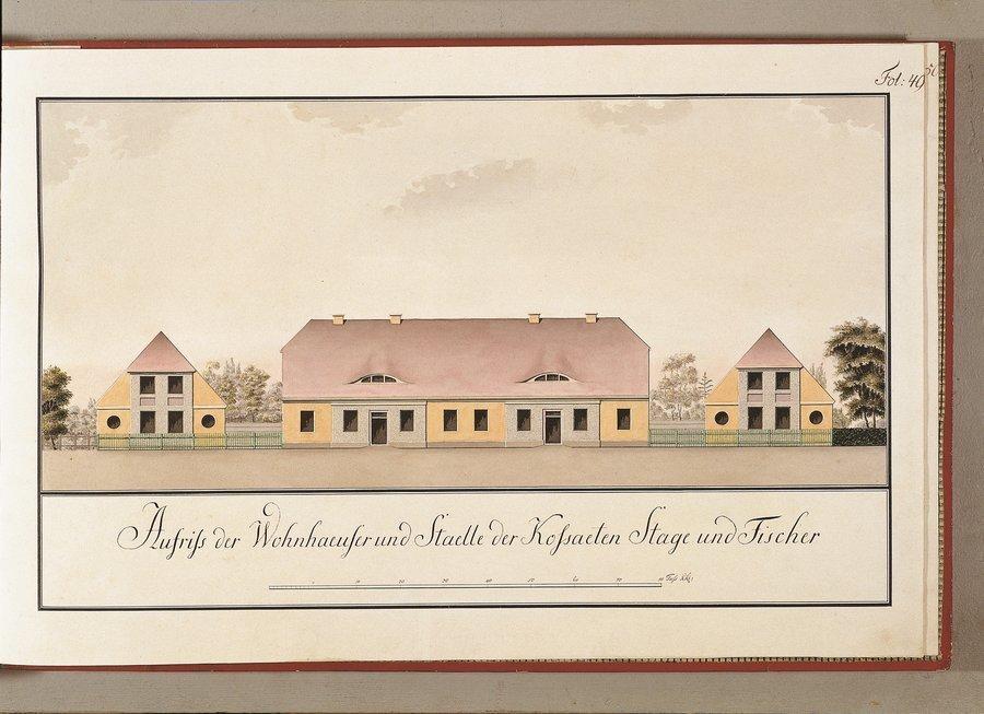 Grundriss des Gehöftes des Kosßaeten Stage/Fischer - heute Hof Bauer Hinze