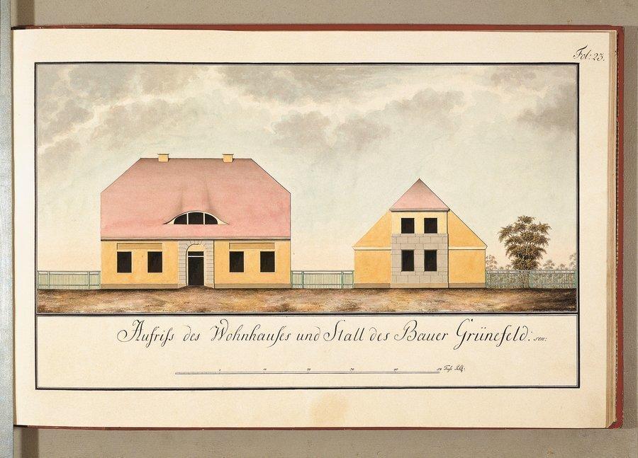 Aufriß des Wohnhauses und Stall des Bauern Grünefeld