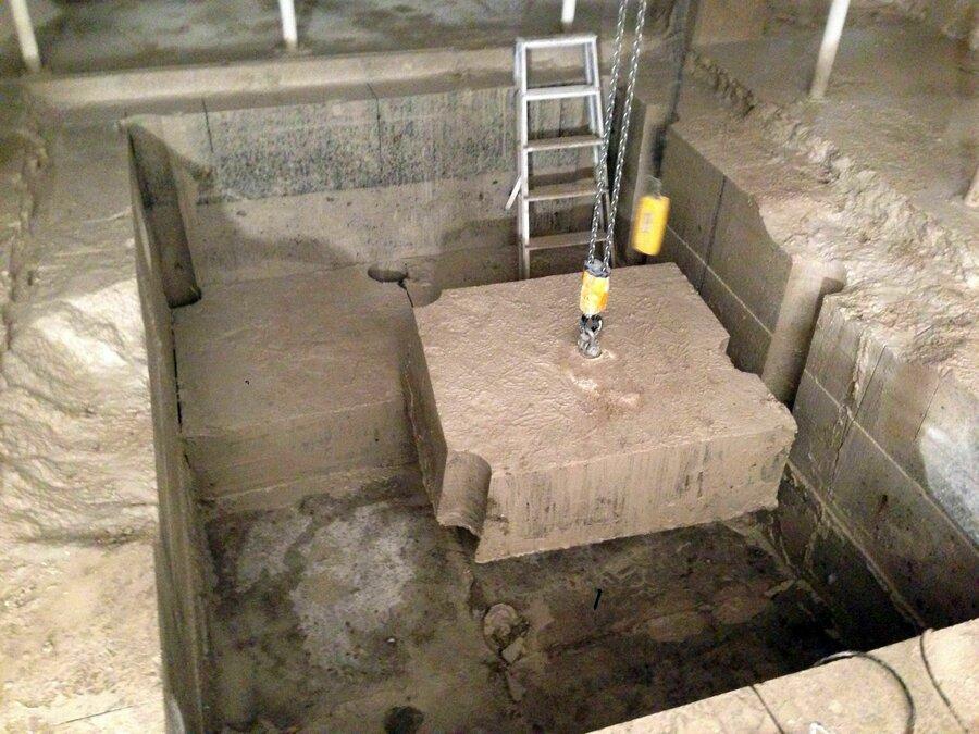 herstellen einer Offnung im Stahlbetonfundament fur den nachtraglichen Einbau eines Aufzuges