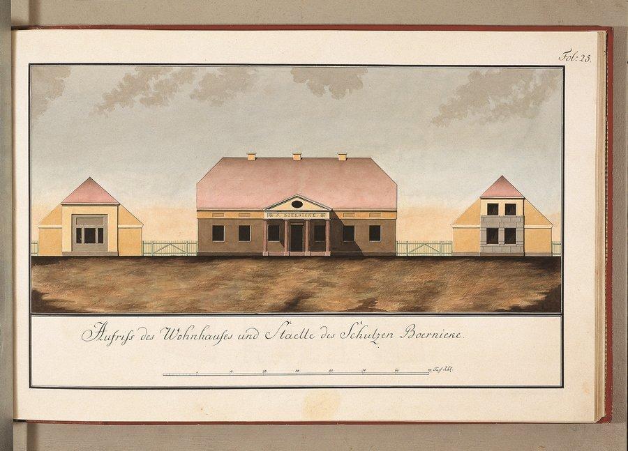 Aufriss des Wohnhauses und der Staelle des Schulzen Boernicke