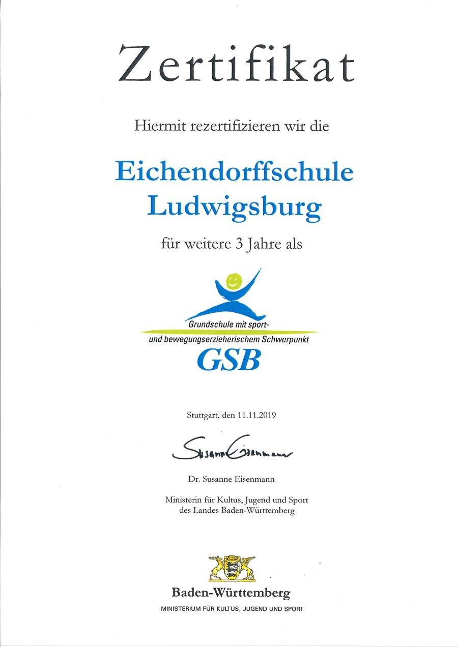 """Zertifikat """"Bewegte Schule"""""""