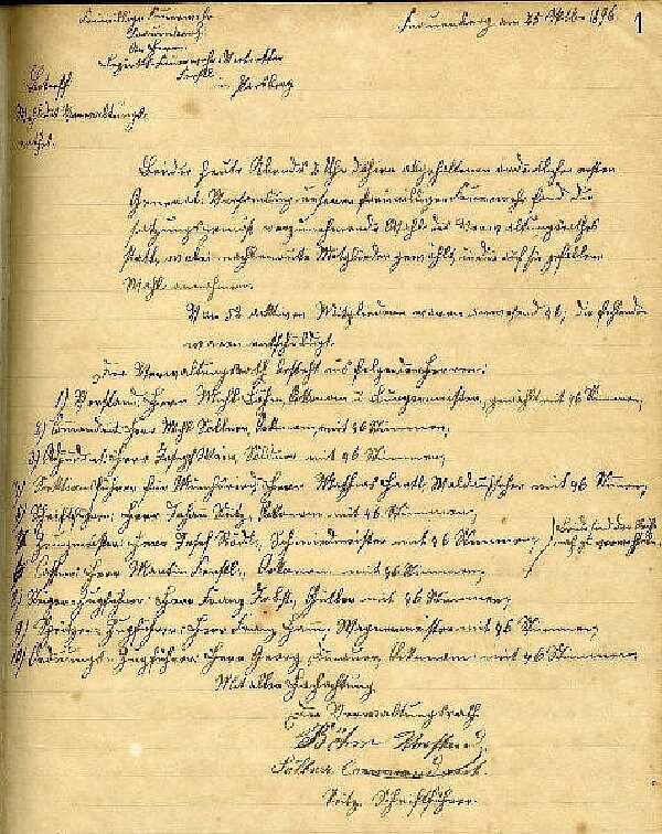 Gründungsurkunde von 1896