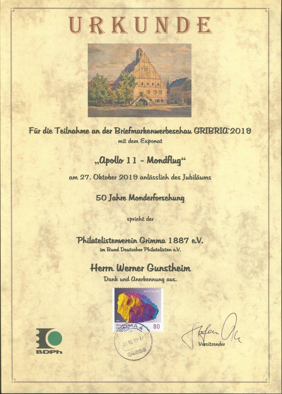 Urkunde GRIBRIA 2019