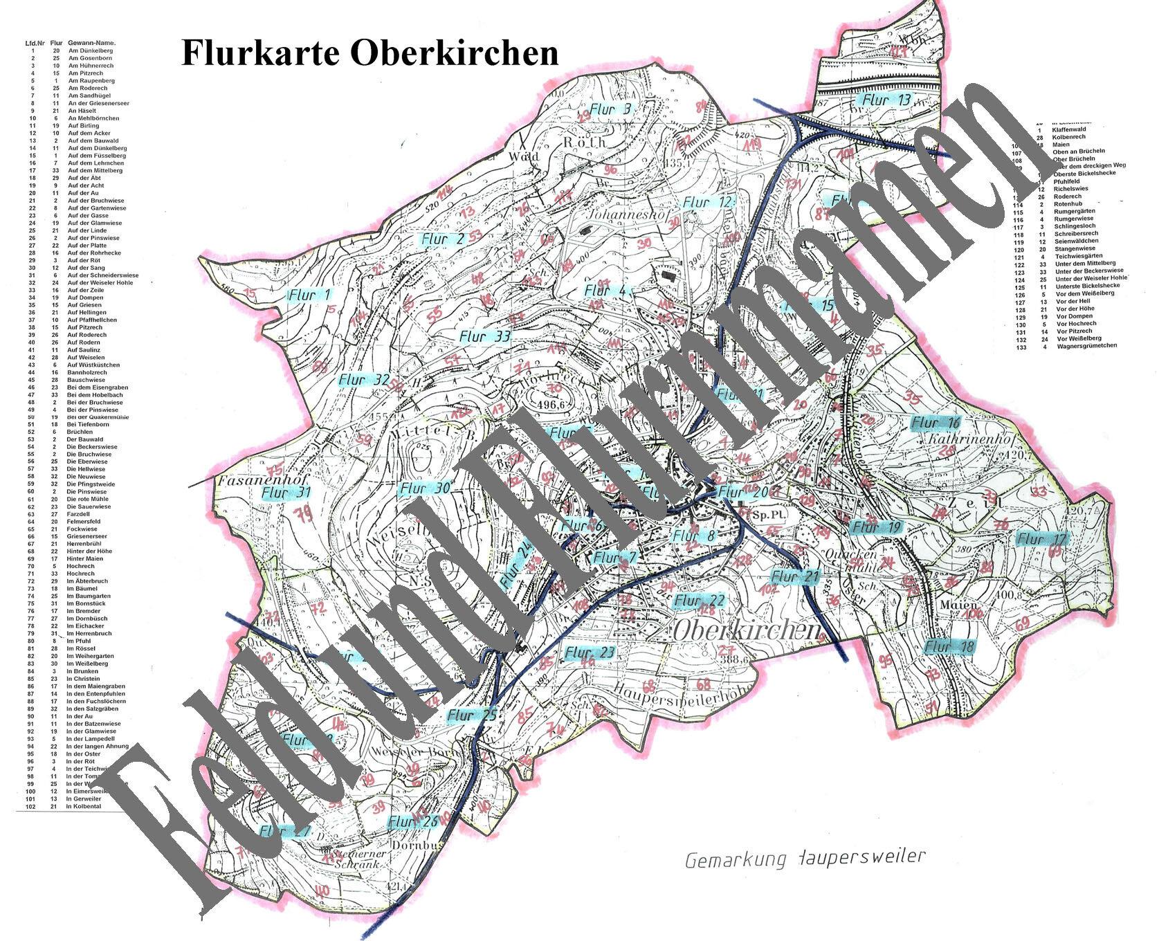 Flurkarte Oberkirchen