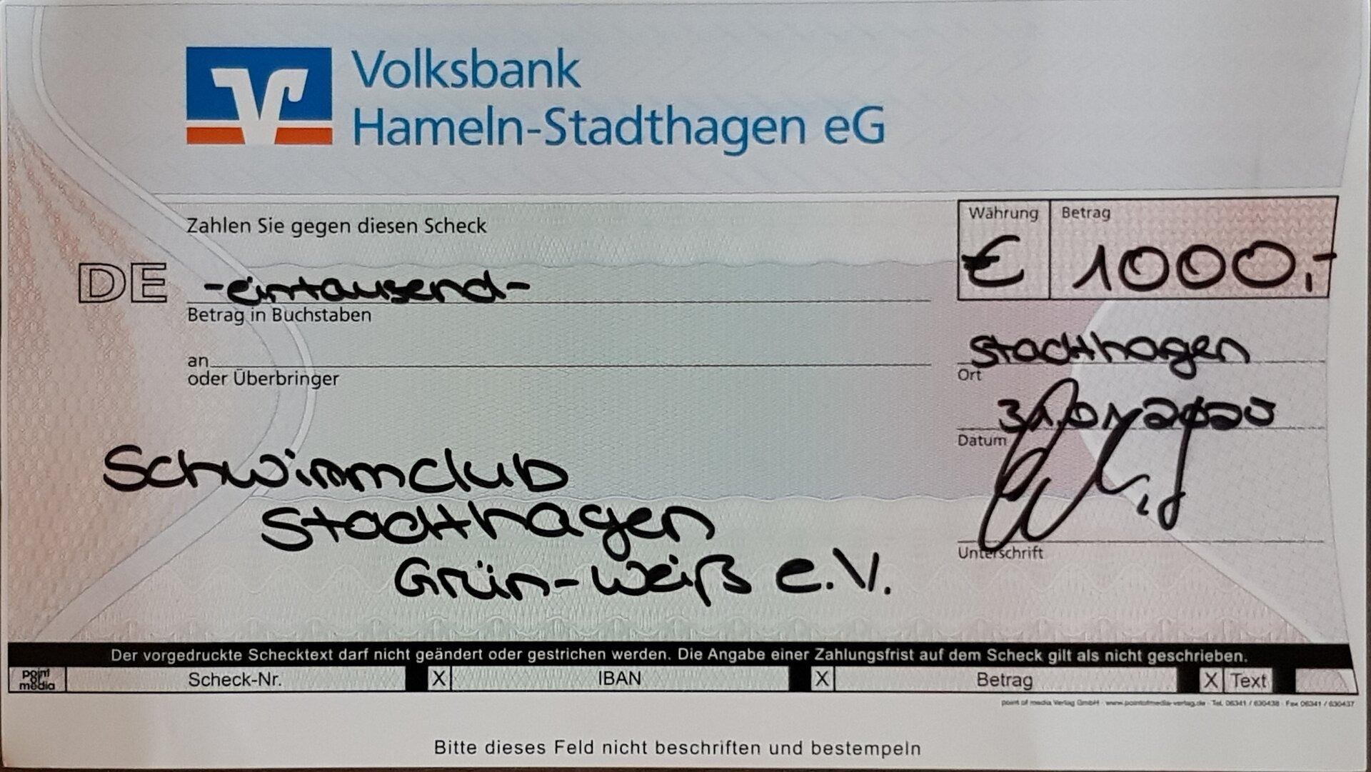Der Schwimmclub-Stadthagen sagt Danke!
