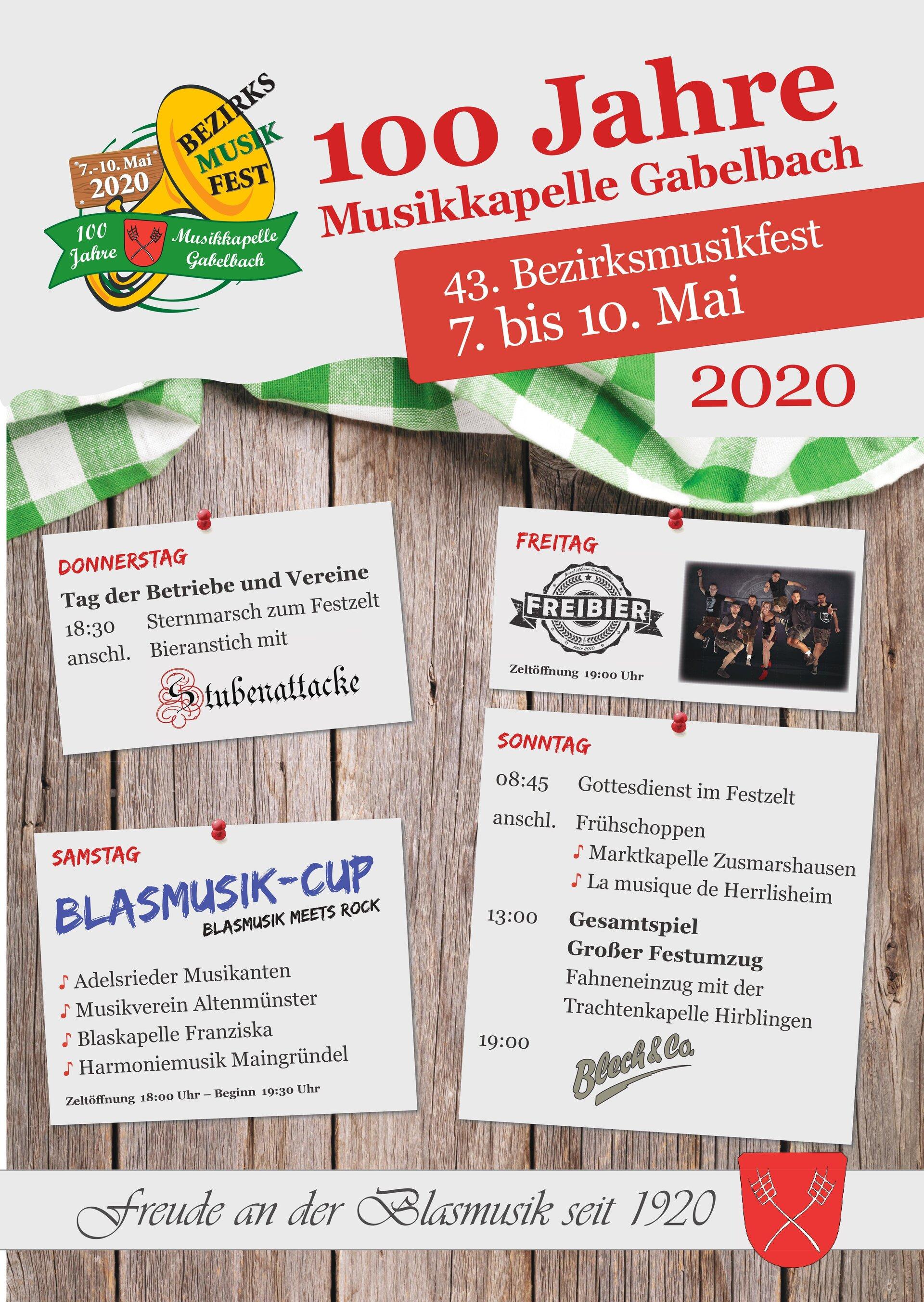 100 Jahre Musikkapelle Gabelbach_Festprogramm