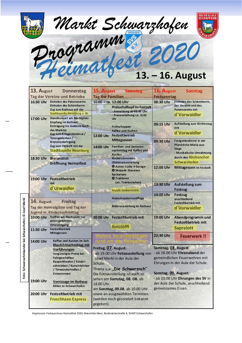Programm Heimatfest 2020