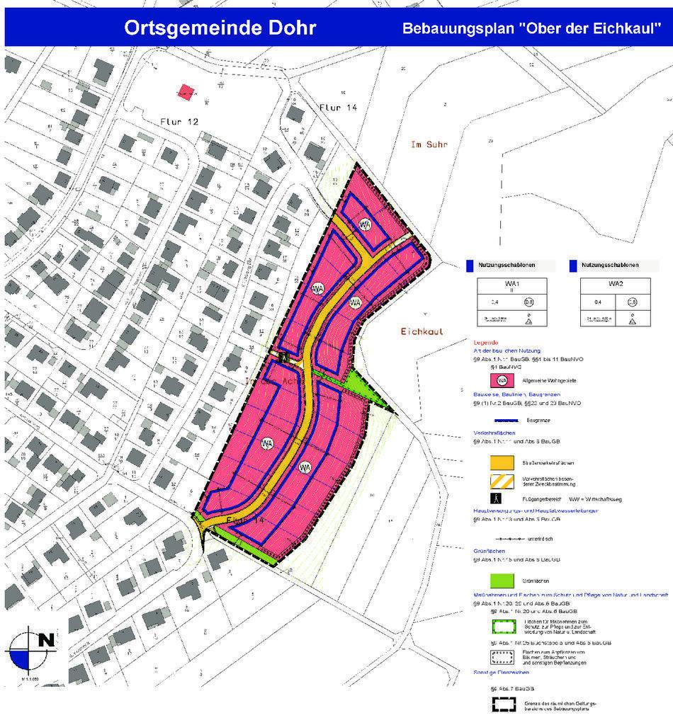 Plan zum Neubaugebiet