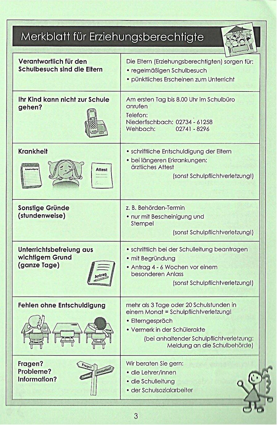 Merkblatt für Erziehungsberechtigte