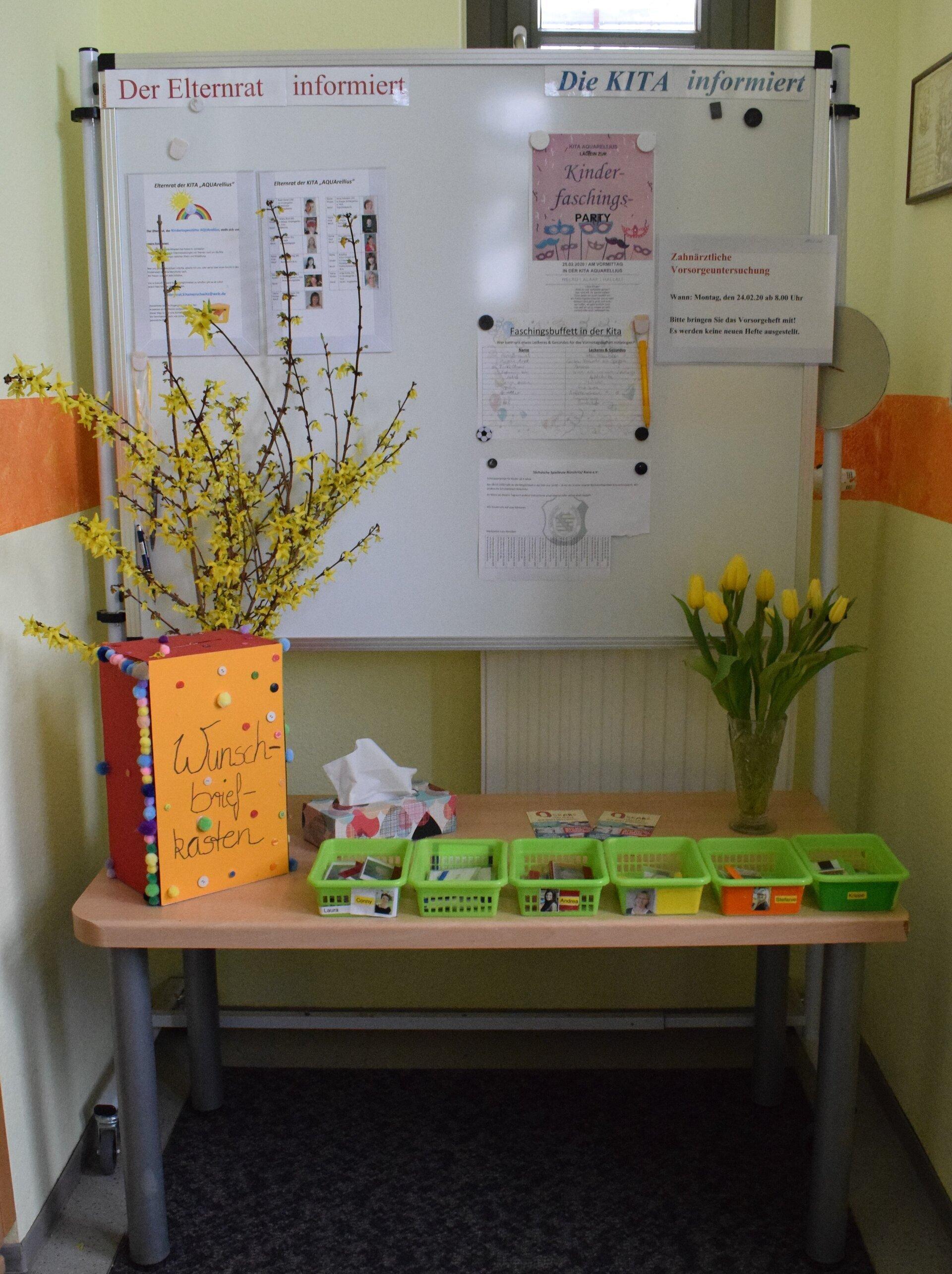 Eingangsbereich mit Info-Tafel und Ausweisen der Kinder