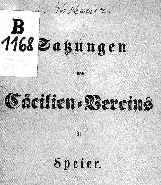 Titel der Vereinssatzung 1861