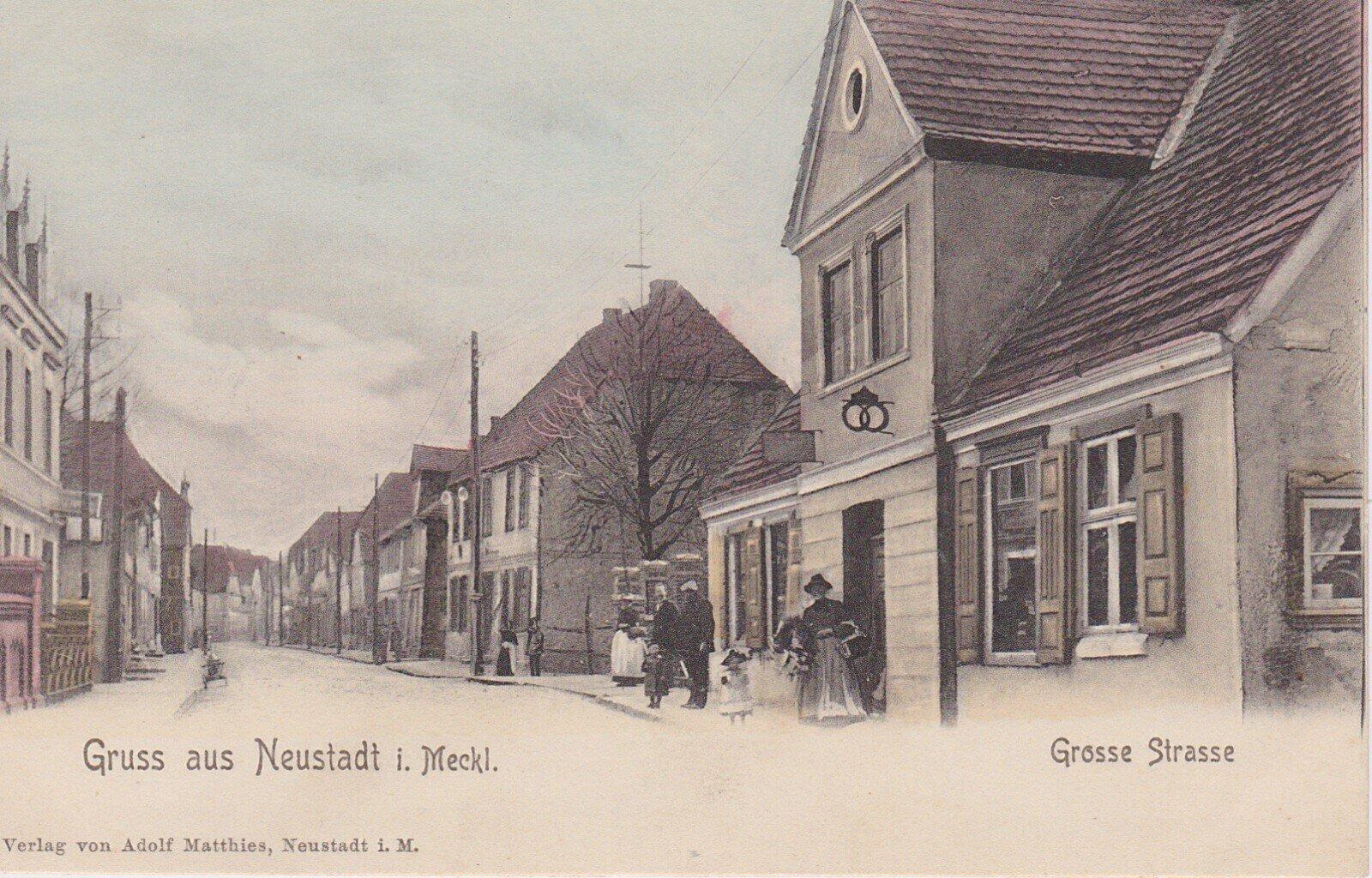 Neustadt-Glewe_Historischer_Stra_enzug_Postkarte_