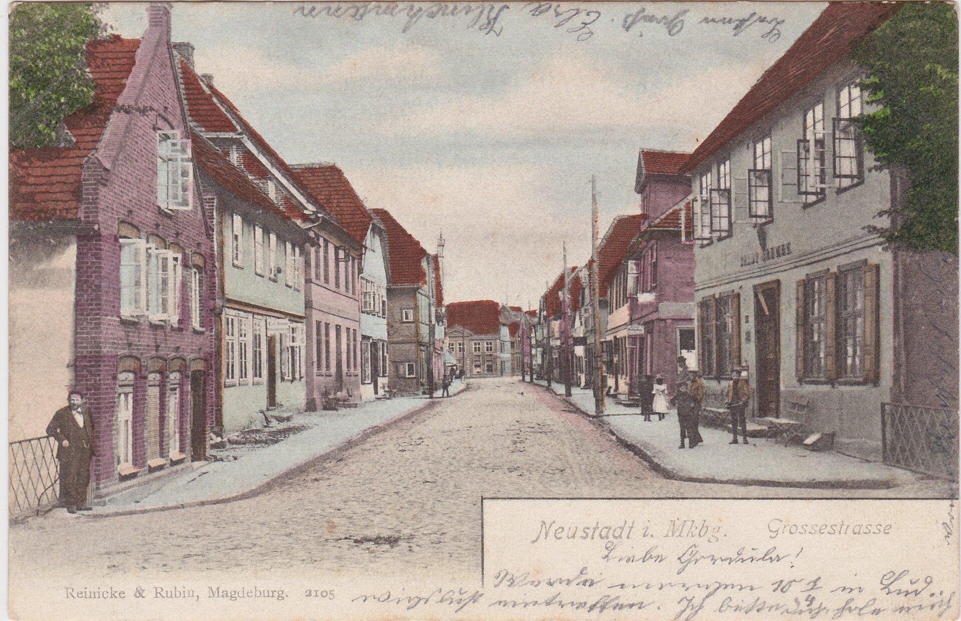 Grosse Strasse mit Blick zum Markt, links heutige VR-Bank, rechts ehem. Hotel Stadt Bremen, Aufnahme vor 1926
