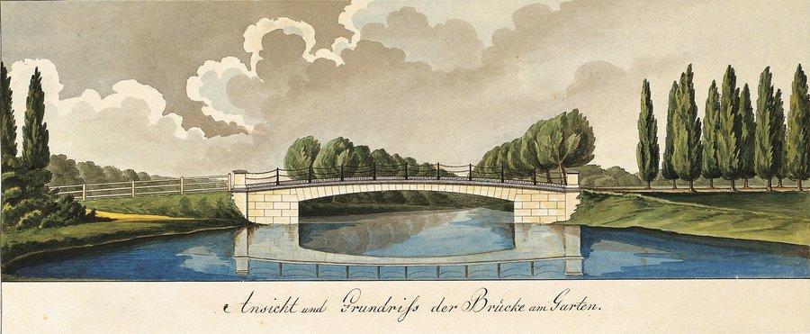 Kettenbrücke über den Graben beim Grottenberg, Paretzer Skizzenbuch