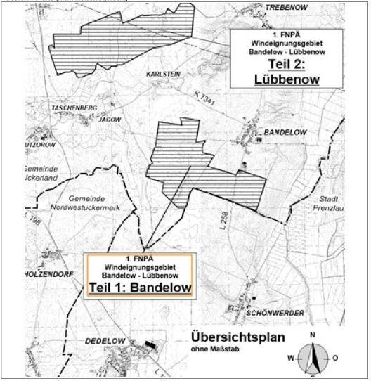 Gemeinde Uckerland Bebauungsplan Windeignungsgebiet Bandelow