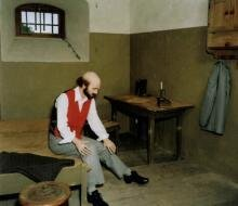 Szene zeigt Sigismund Reschke in Kerkerhaft (Museum Burg Mildenstein)