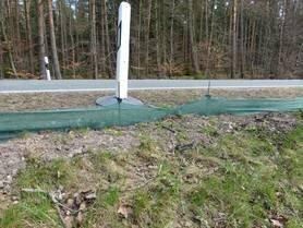 Viel zu niedriger und falsch aufgebauter Zaun. Das Netzmaterial wird zudem leicht überklettert.