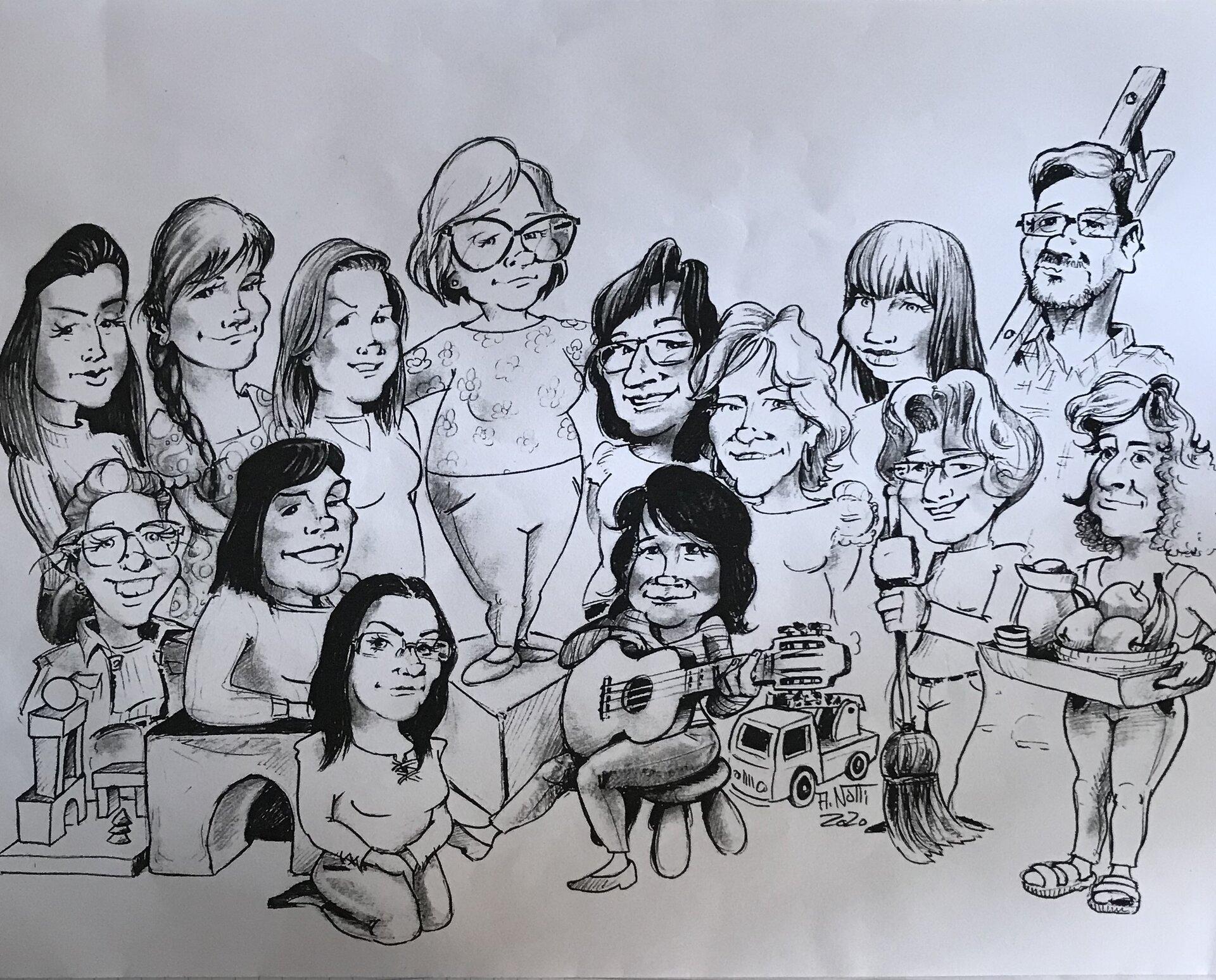 Unser Team Karikatur