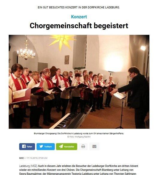 Chorgemeinschaft begeistert (c) Märkische Oderzeitung