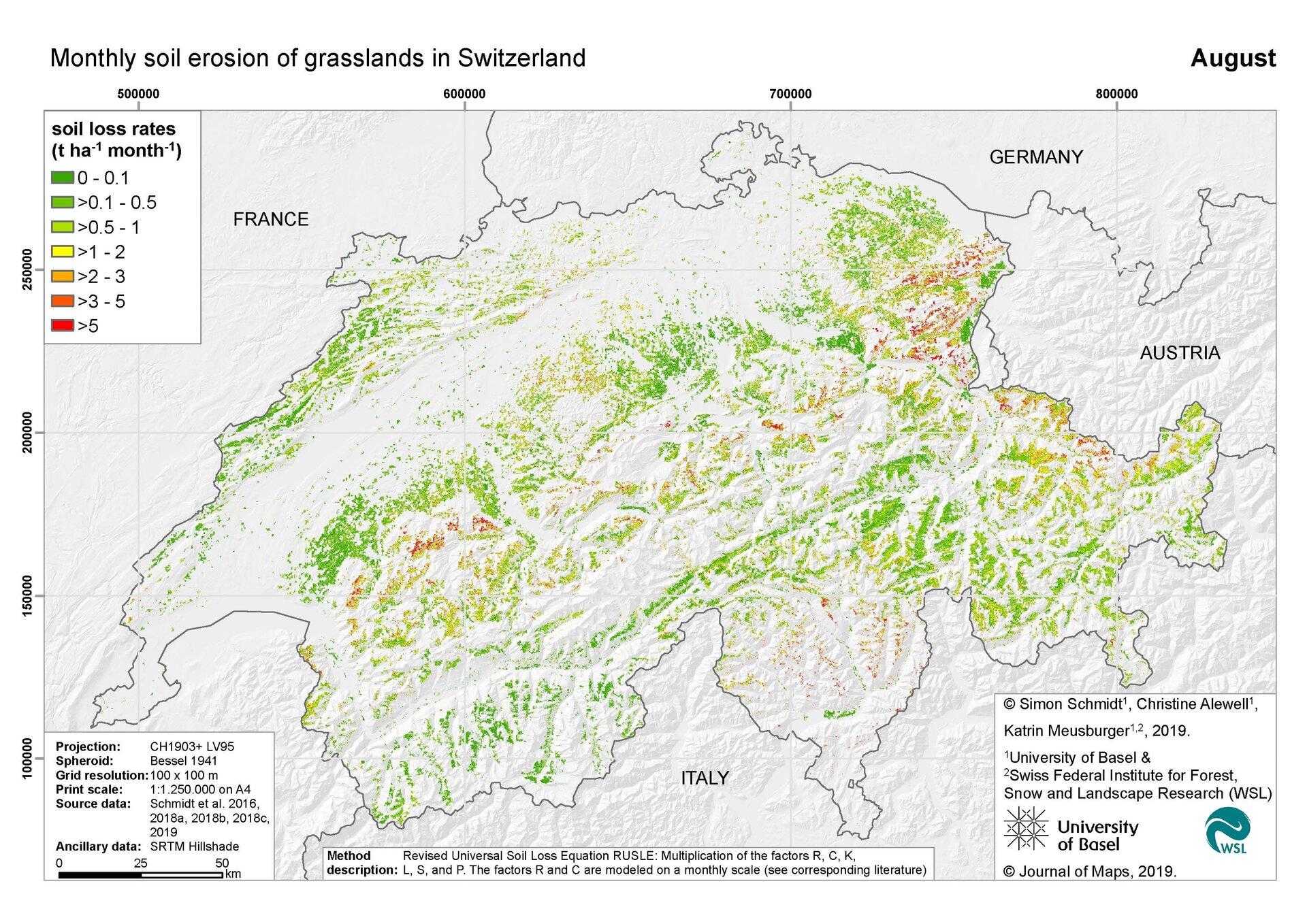 Erosionsrisikokarte auf Grünland