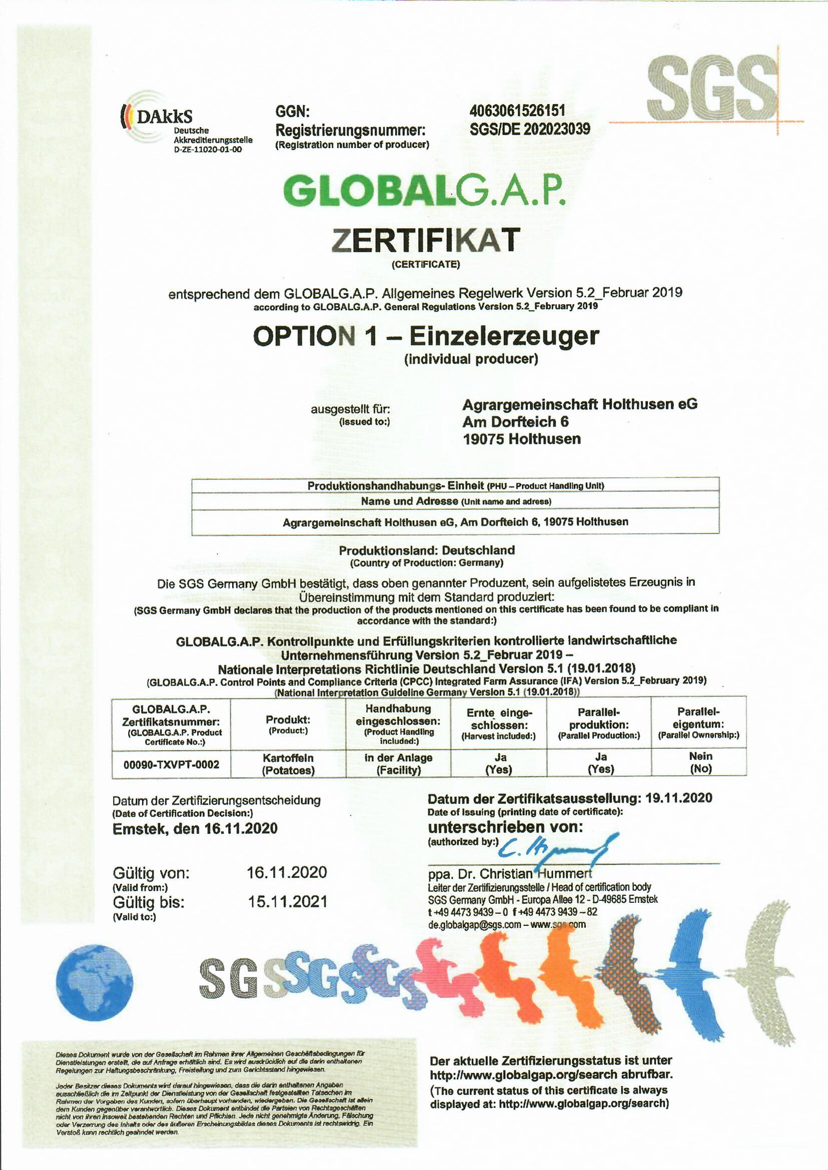 Zertifikat Speisekartoffeln