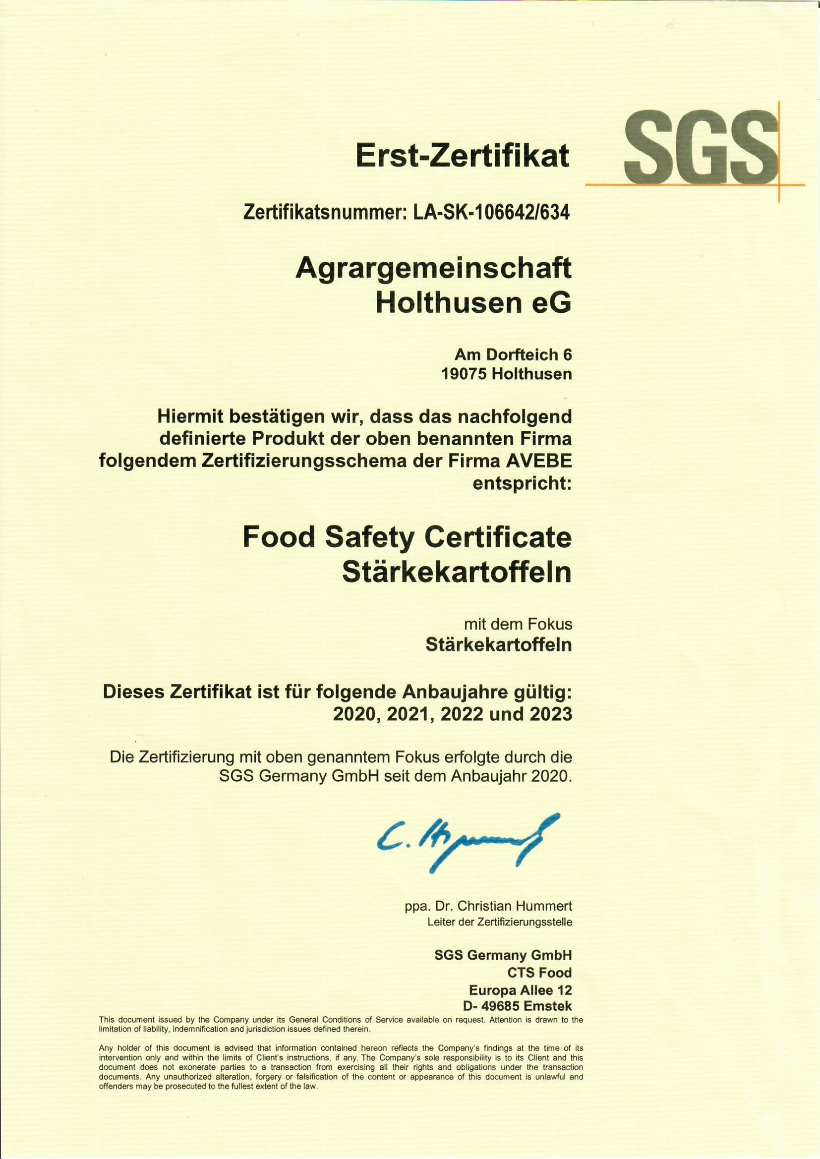 Zertifikat Stärkekartoffeln