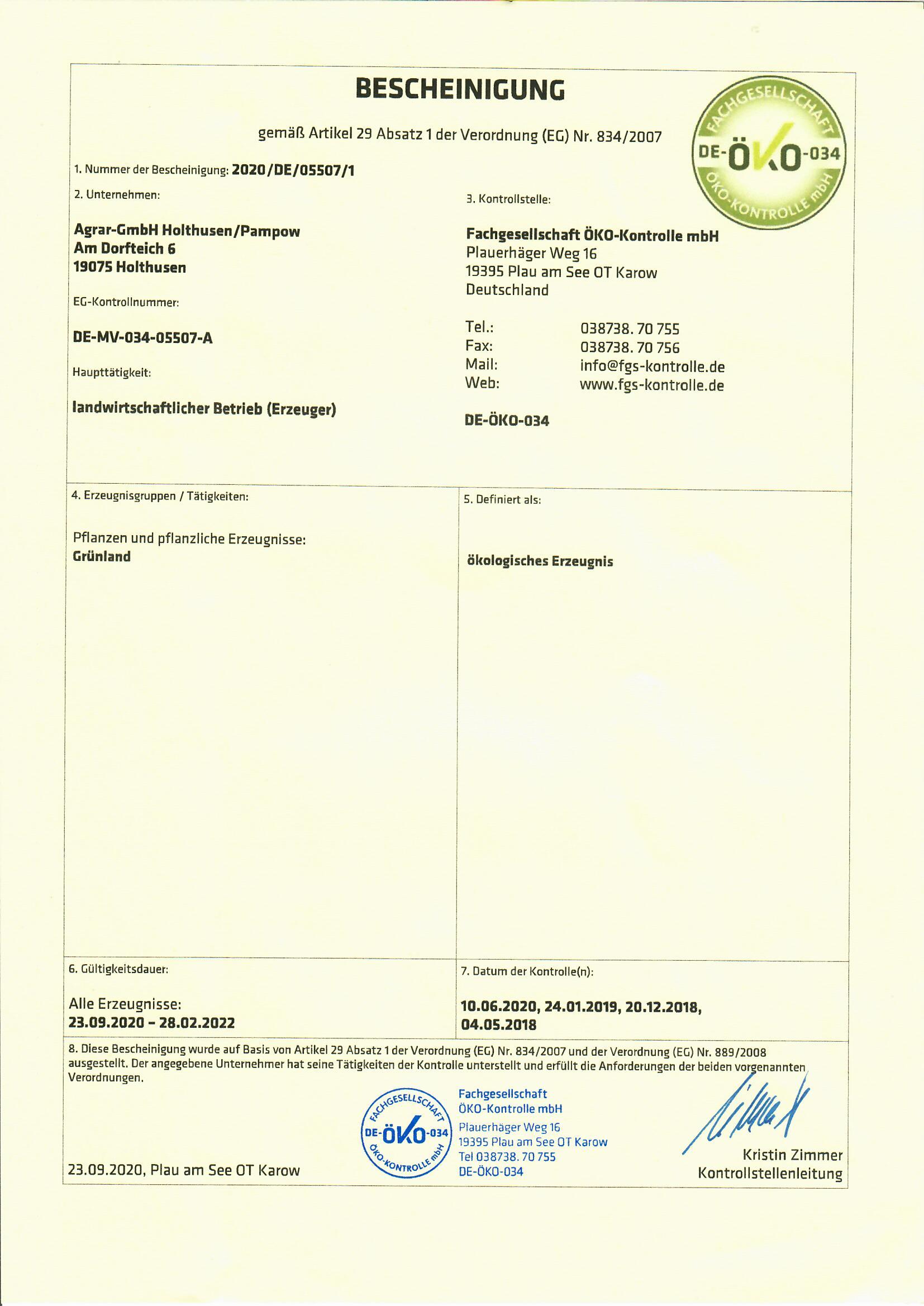 ÖKO-Bescheinigung 23.09.2020