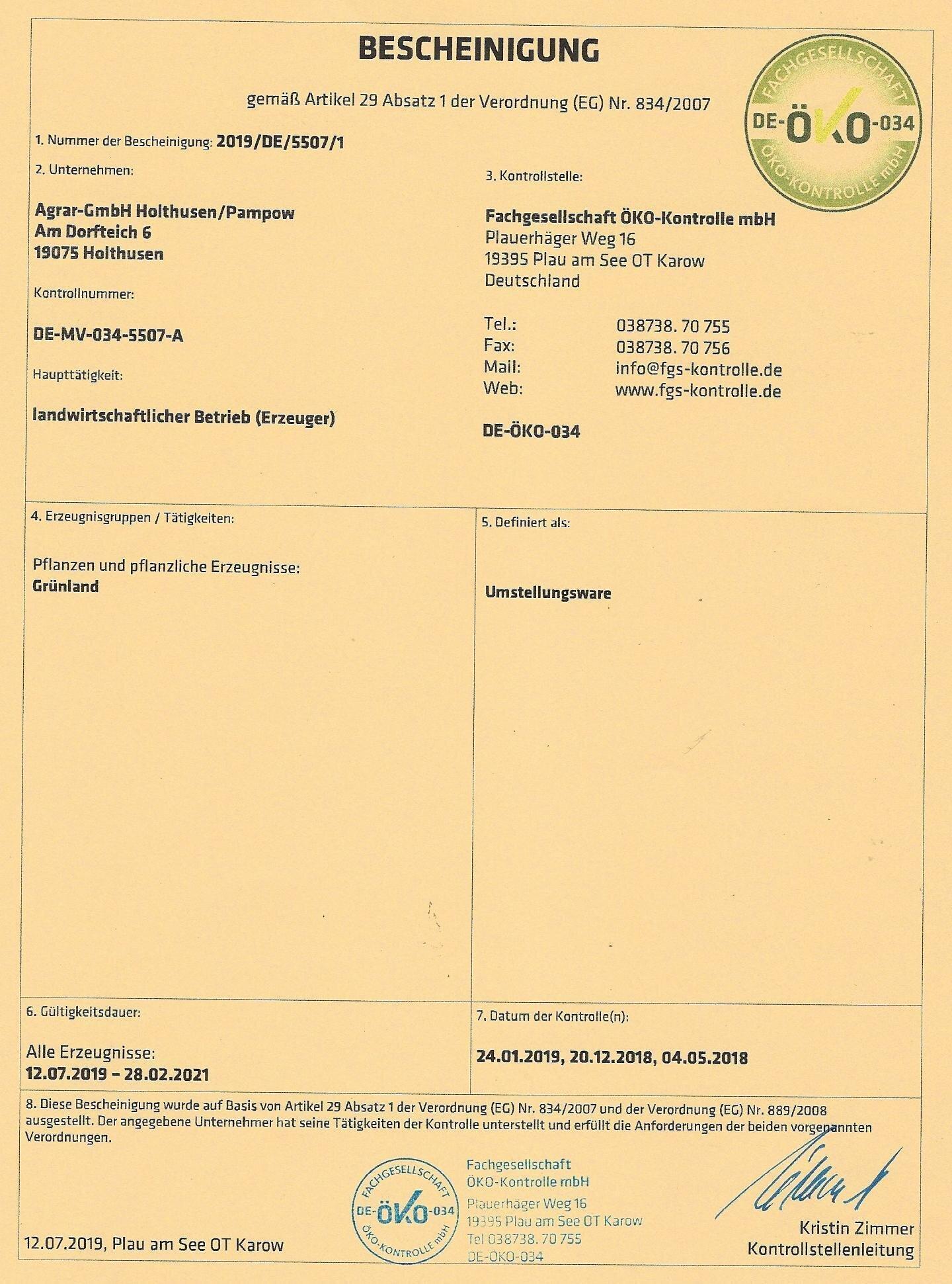 ÖKO-Bescheinigung 31.12.2019