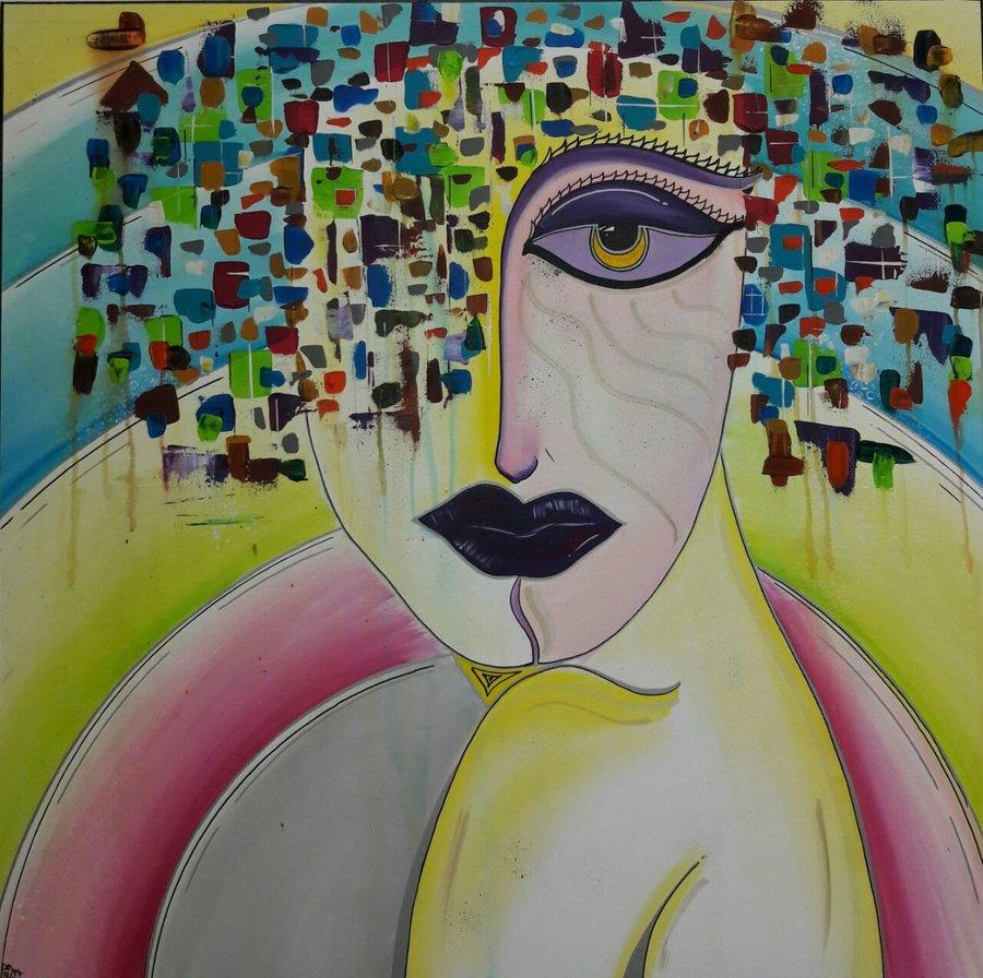 Verwirrungen, 100 x 100 cm, Acryl auf Leinwand