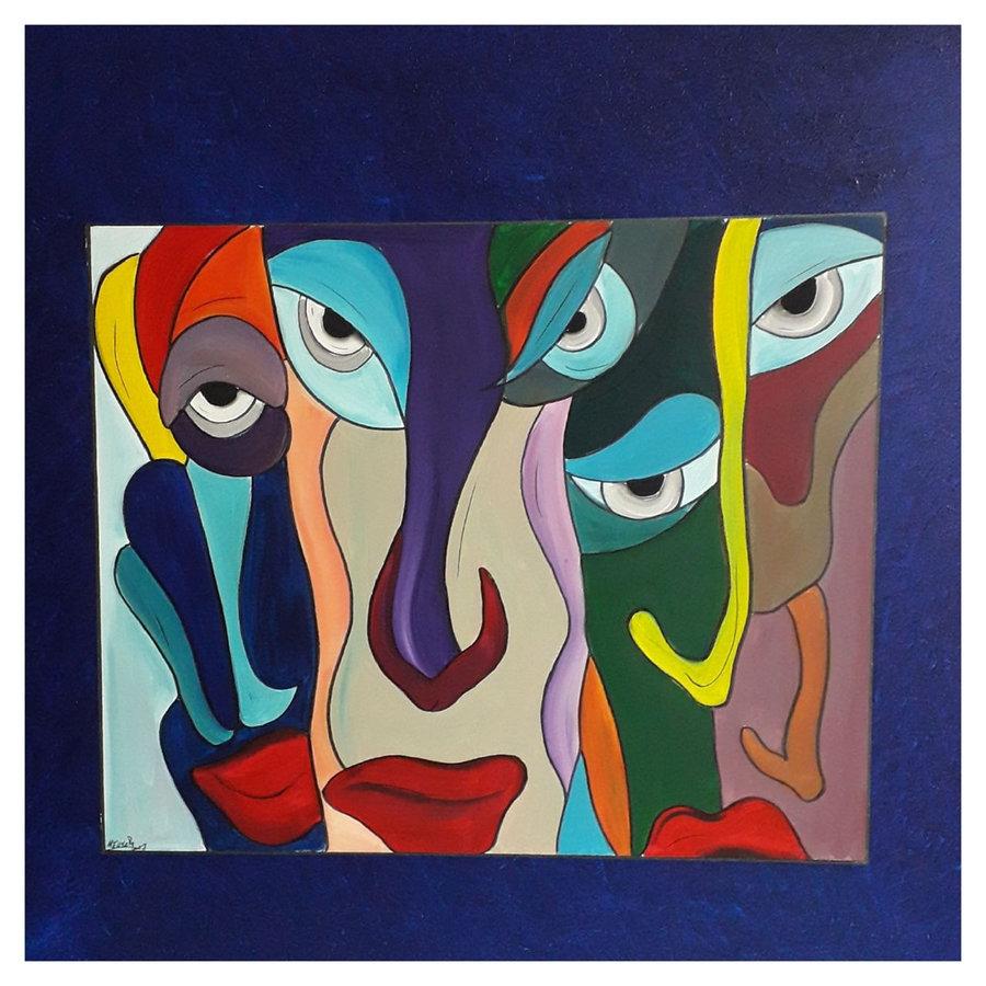 Realitätsschock,  80 x 80 cm , Acryl auf Leinwand