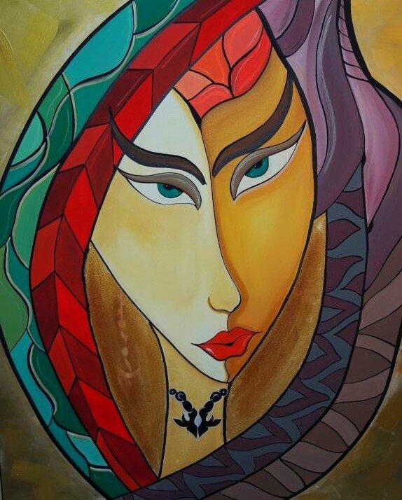 Prinzessin, 120 x 100 cm , Acryl auf Leinwand