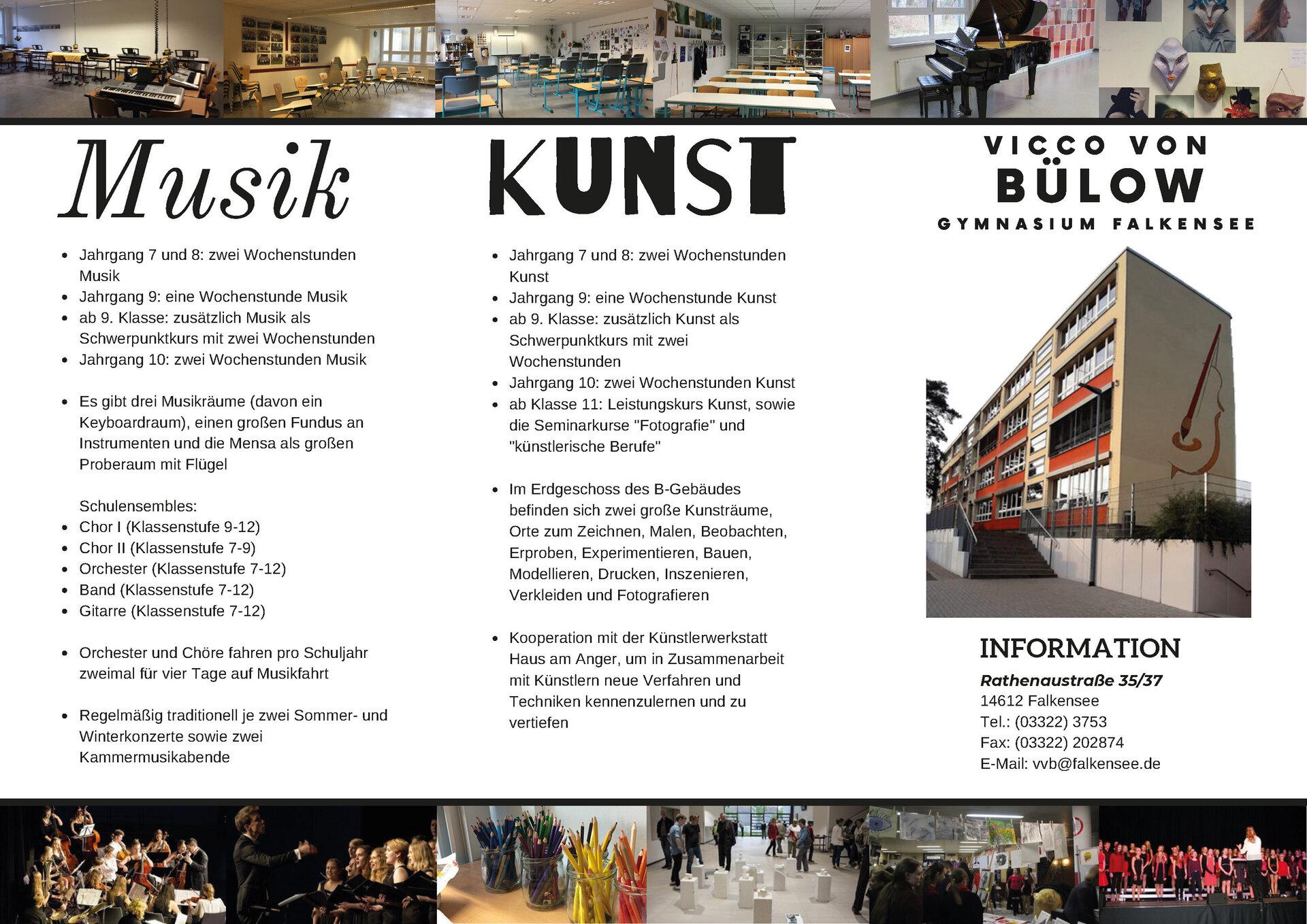 Schulflyer Kunst Musik, Konzept,  Gestaltung, Umsetzung von Amélie Böckmann und Yuri Avdibegovic