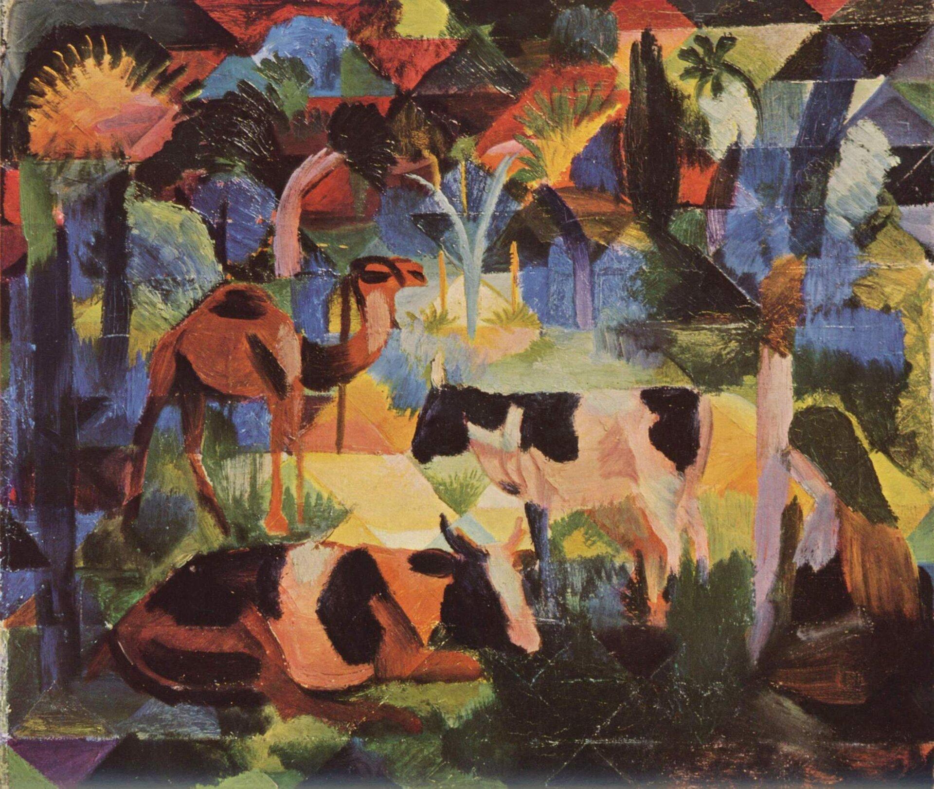 Landschaft mit Kühen und Kamel, 1914